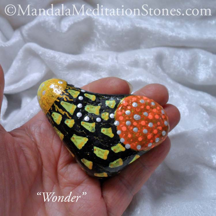 Wonder Mandala Meditation Stone - The Mandala Lady - Hand painted stones