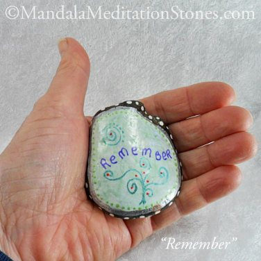Remember Mandala Meditation Stone - The Mandala Lady - Hand-painted Stones