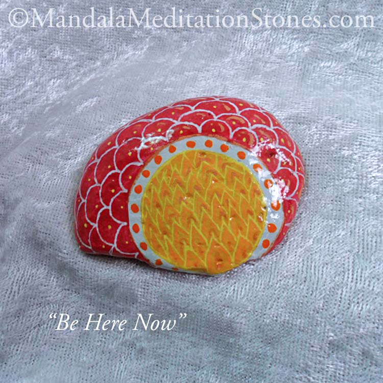 Mandala Meditation Stone - Hand Painted Stones - The Mandala Lady - Be Here Now