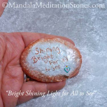 Bright Shining Light for All to See Mandala Meditation Stone - The Mandala Lady - Hand painted stones