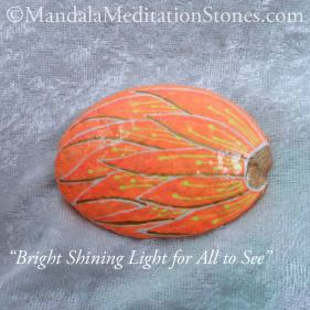 Bright Shining Light for All to See Mandala Meditation Stone - The Mandala Lady - Hand painted stones