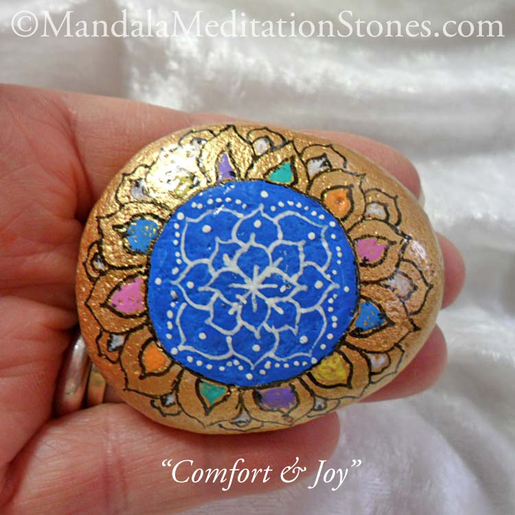 Comfort & Joy Mandala Meditation Stone - The Mandala Lady - Hand painted stones