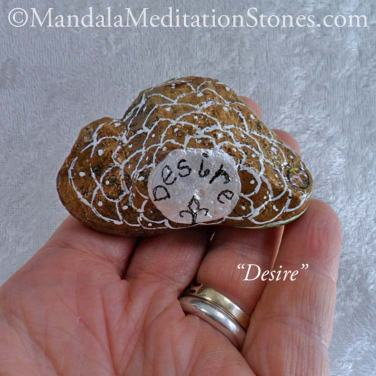 Desire Mandala Meditation Stone - The Mandala Lady - Hand-painted Stones - The Mandala Lady