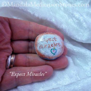 Expect Miracles Mandala Meditation Stone - The Mandala Lady - Hand painted stones