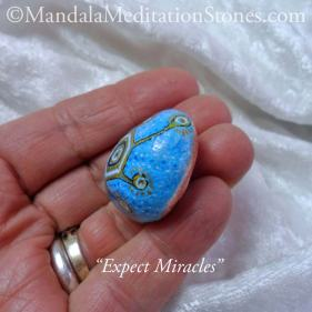 Expect Miracles Mandala Meditation Stone - The Mandala Lady - Hand painted stones
