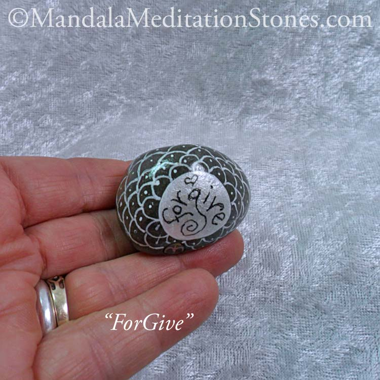 ForGive Mandala Meditation Stone - The Mandala Lady - Hand painted stones