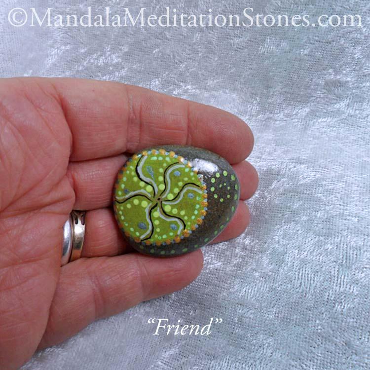 Friend Mandala Meditation Stone - The Mandala Lady - Hand painted stones