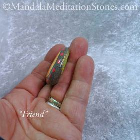 Friend Mandala Meditation Stone - The Mandala Lady - Hand painted stones
