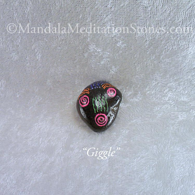 Giggle - Mindfulness Stone - Hand Painted Stone - The Mandala Lady