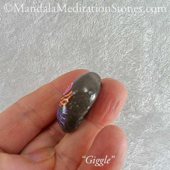 Giggle - Mindfulness Stone - Hand Painted Stone - The Mandala Lady