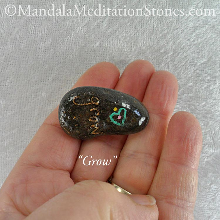 Grow - Mindfulness Stone - Hand Painted Stone - The Mandala Lady