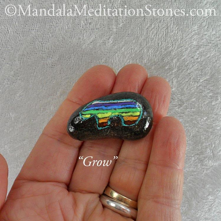Grow - Mindfulness Stone - Hand Painted Stone - The Mandala Lady