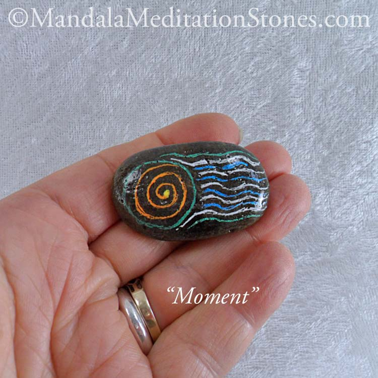 Moment - Mindfulness Stone - Hand Painted Stone - The Mandala Lady