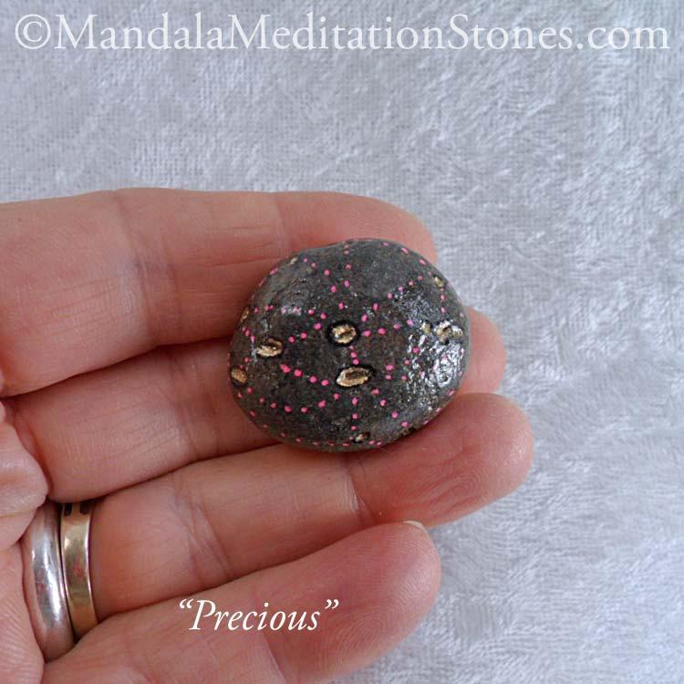 Precious - Mindfulness Stone - Hand Painted Stone - The Mandala Lady