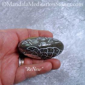 ReNew Mandala Meditation Stone - The Mandala Lady - Hand painted stones