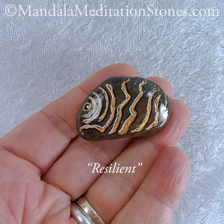 Resilient - Mindfulness Stone - Hand Painted Stone - The Mandala Lady