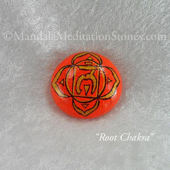 Root Chakra Mandala Meditation Stone - The Mandala Lady - Hand-painted Stones