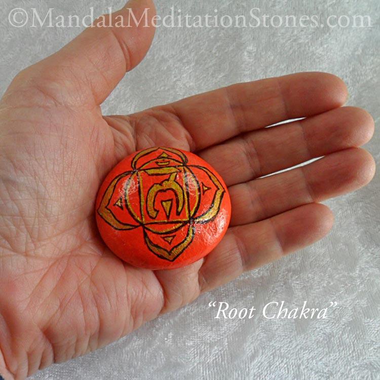 Root Chakra Mandala Meditation Stone - The Mandala Lady - Hand-painted Stones