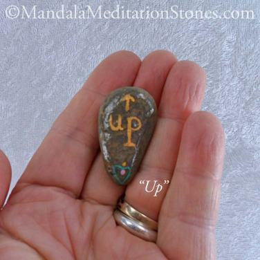 Up - Mindfulness Stone - Hand Painted Stone - The Mandala Lady