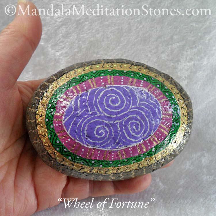 Wheel of Fortune Mandala Meditation Stone - The Mandala Lady - Hand-painted Stones - The Mandala Lady