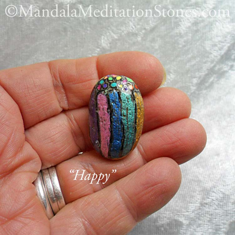 Happy - Mindfulness Stone - Hand Painted Stone - The Mandala Lady