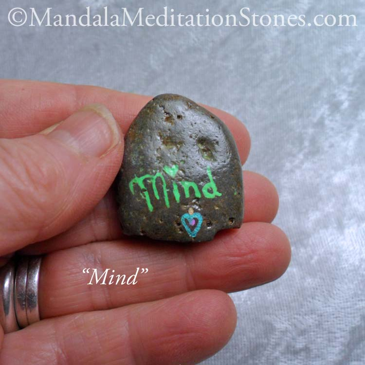 Mind - Mindfulness Stone - Hand Painted Stone - The Mandala Lady